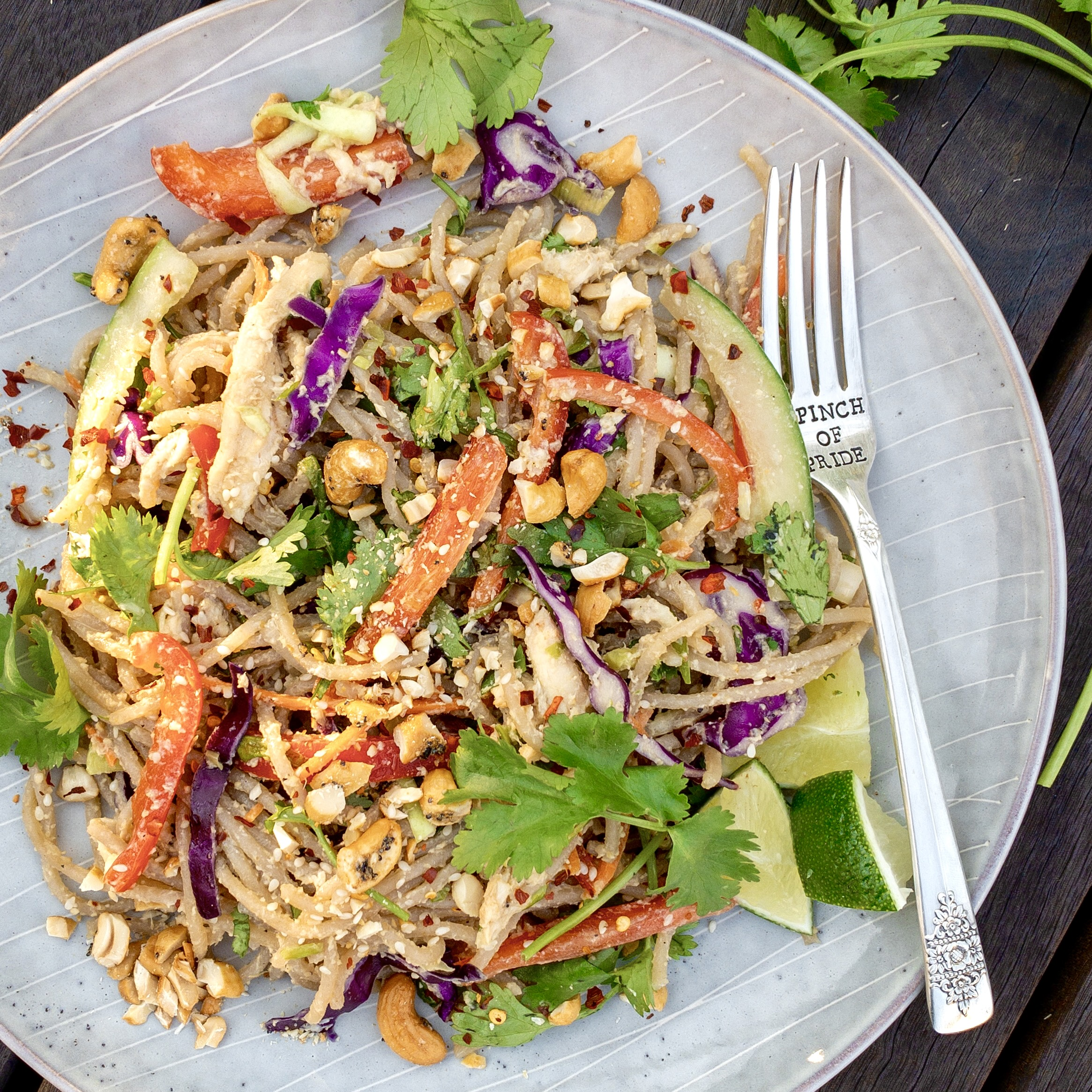 """Gluten-free cold noodles mixed with red bell pepper, thinly sliced cucumbers, coleslaw mix, cilantro and crushed cashews. Served on a gray plate with fork that says """"A Pinch of Pride"""""""