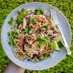 Gluten-free cold noodle recipe plated with a green leafy background